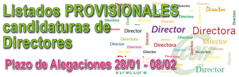 Listado PROVISIONAL de Candidaturas de Directores de Centros