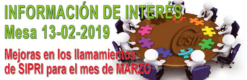 INFORMACIÓN DE INTERÉS MESA SECTORIAL 13/02/19