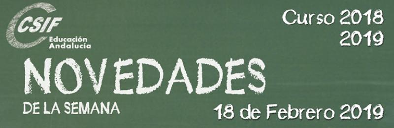 Andalucía - Novedades de la Semana 18/2/2019