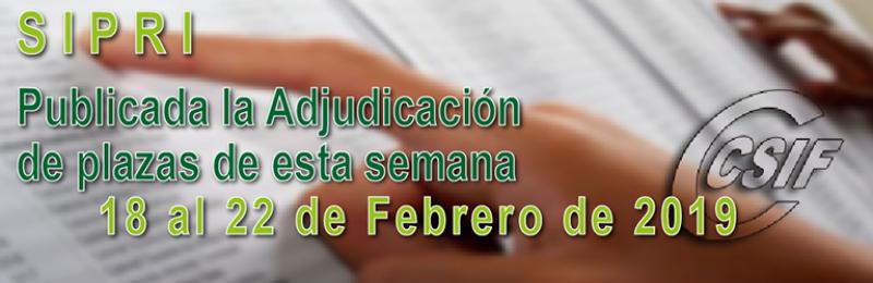 Publicada la Adjudicación CENTRALIZADA de esta semana (18 al 22 de Febrero - 2019)