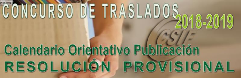 Calendario orientativo RESOLUCIÓN PROVISIONAL Concurso de Traslados 2018-2019