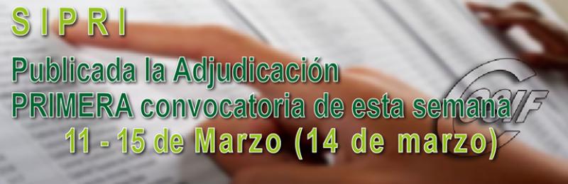 Publicada adjudicación PRIMERA convocatoria SIPRI (Semana 11-15 de marzo)