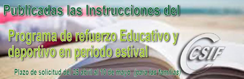 Publicadas las Instrucciones del Programa de Refuerzo Educativo y Deportivo en periodo estival