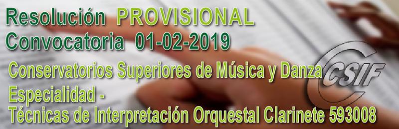 Resolución PROVISIONAL profesorado especialista Conservatorios Superiores de Música y Danza y en Escuelas Oficiales de Idiomas -  Convocatoria 01/02/2019