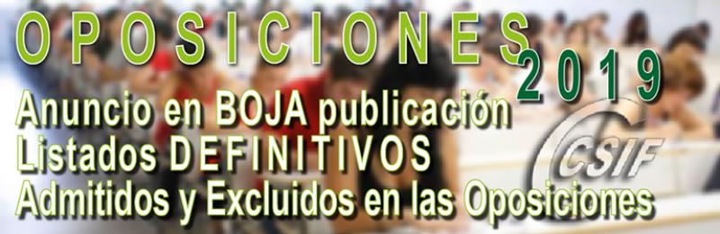Anuncio en BOJA de la publicación de los listados DEFINITIVOS de ADMITIDOS en las oposiciones
