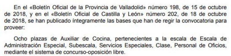 8 plazas de auxiliar de cocina en la Diputación de Valladolid