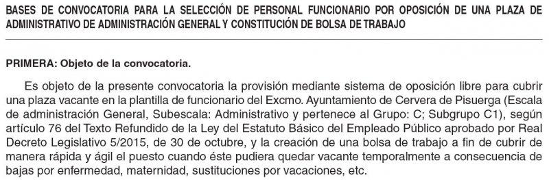 Administrativo en el Ayuntamiento de Cervera de Pisuerga