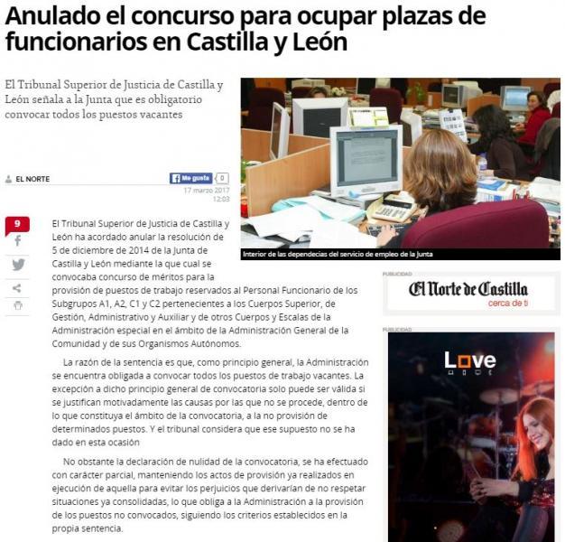 Anulado el concurso para ocupar plazas de funcionarios en Castilla y León