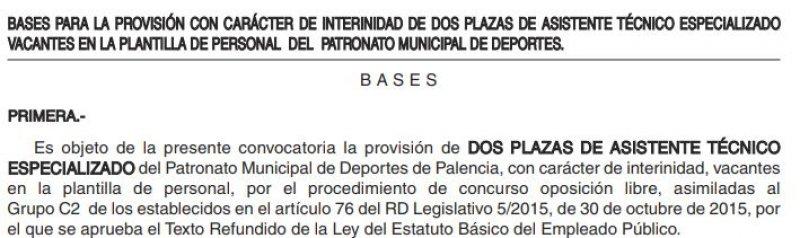 Asistente técnico especializado dos plazas (interinas) en el Patronato Municipal de Deportes