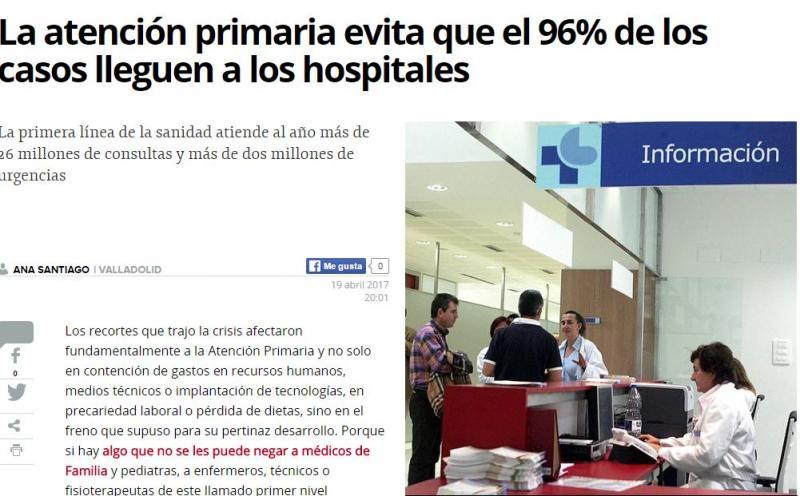 La atención primaria evita que el 96% de los casos lleguen a los hospitales