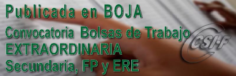 Publicada en BOJA la convocatoria de Bolsa de Trabajo Extraordinaria Secundaria, FP y ERE