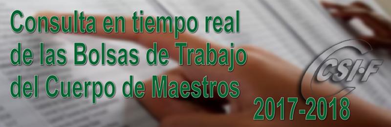 Activada la consulta en tiempo real de las BOLSAS de TRABAJO del Cuerpo de MAESTROS 2017-2018