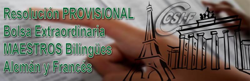 Resolución PROVISIONAL de bolsas extraordinarias bilingües Alemán y Francés del Cuerpo de Maestros