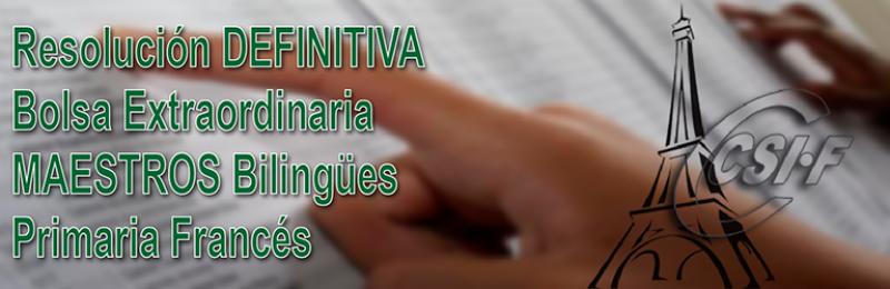 Publicados los Listados DEFINITIVOS de la Bolsa Bilingüe de Educación Primaria Francés