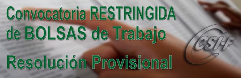 Se publica el listado provisional del personal admitido y excluido en la convocatoria restringida de 9 de octubre