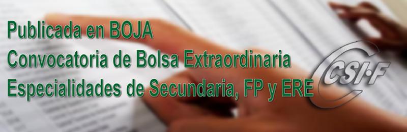 Convocatoria extraordinaria de Bolsa de Trabajo de Secundaria, FP y ERE