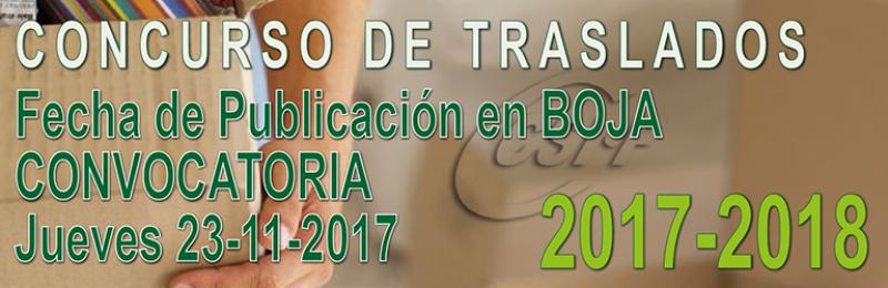 Fecha de publicación en BOJA de la CONVOCATORIA del Concurso de Traslados