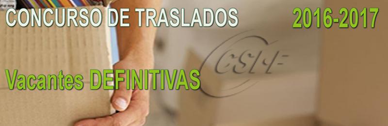 Publicadas las Vacantes DEFINITIVAS del Concurso de Traslados 2016-2017
