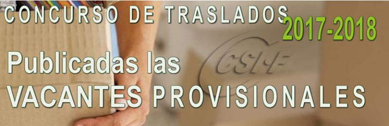 Publicada la resolución PROVISIONAL de VACANTES del Concurso de Traslados 2017-2018