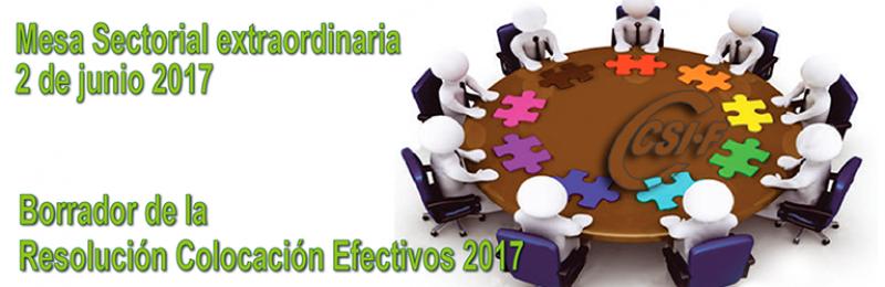 Mesa Sectorial Extraordinaria -- 2 de junio de 2017 -- ORDEN DE COLOCACIÓN DE EFECTIVOS 2017