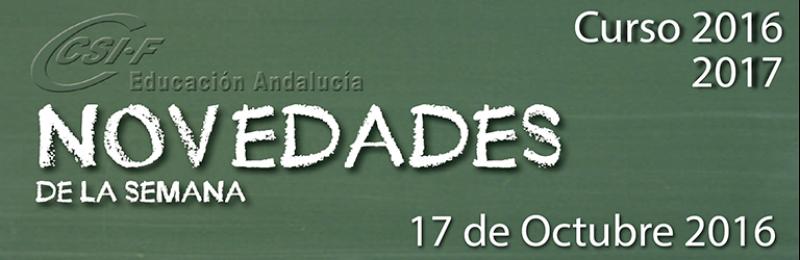 Andalucía - Novedades de la Semana 17/10/2016