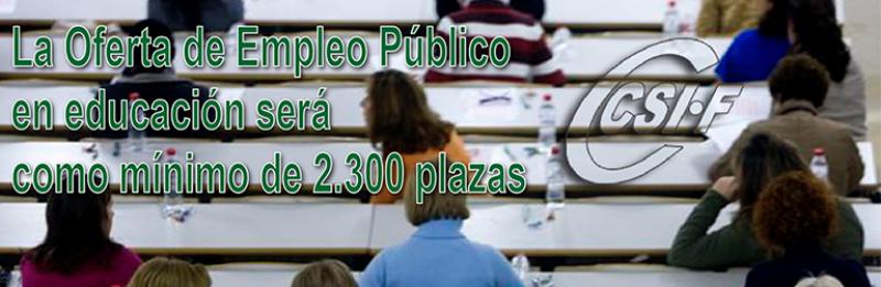 La Consejería recuerda que la oferta de empleo público docente será como mínimo de 2.300 plazas