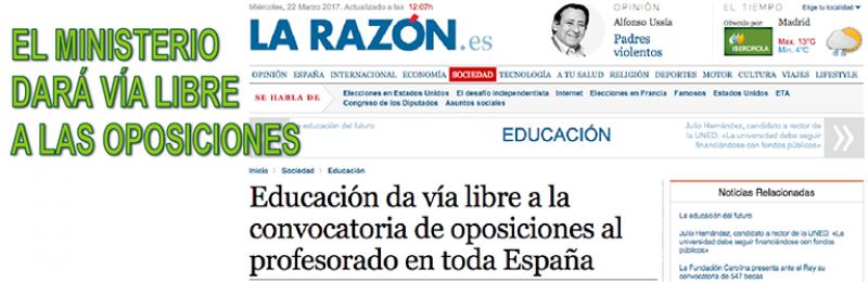El Ministerio anuncia que dará vía libre a la convocatoria de oposiciones al profesorado en toda España
