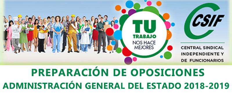 Preparación de oposiciones Administración General del Estado 2018-2019