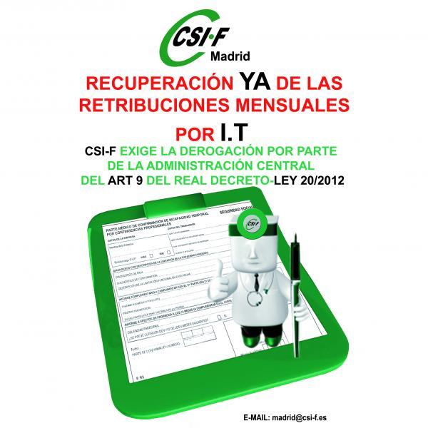 Recuperación de YA de las retribuciones mensuales por IT