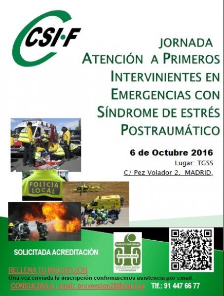 """Cartel Jornadas  """"Atención a primeros intervinientes en emergencias con síndrome de estrés postraumático"""""""
