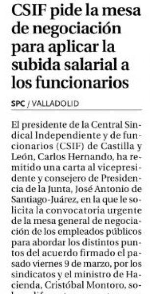 CSIF pide aplicación del acuerdo