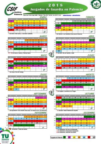 Calendario juzgados guardia Palencia 2018