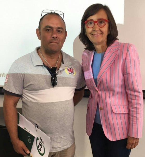 Consejera de Justicia e Interior, Rosa Aguilar y Responsable Admón local CSIF Cádiz, Francisco Silvestre