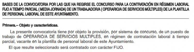 Contratación de un operario de servicios múltiples en el Ayuntamiento de Manquillos