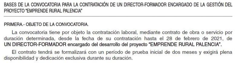 Director formador encargado de la gestión del proyecto Emprende Rural Palencia
