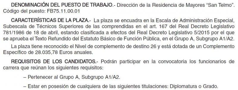 Director/a Residencia San Telmo (dependiente de la Diputación de Palencia)
