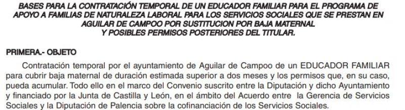 Educador familiar Ayuntamiento de Aguilar de Campoo