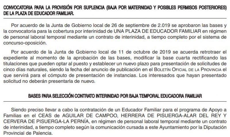 Educador familiar en el Ayuntamiento de Aguilar de Campoo