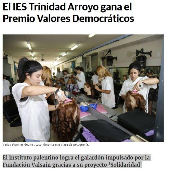 El IES Trinidad Arroyo gana el Premio Valores Democráticos (Norte de Castilla)