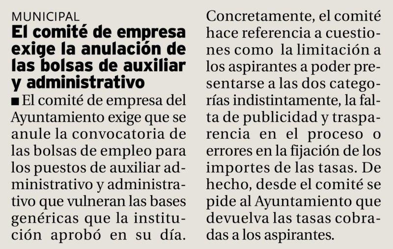 El comité de empresa del Ayuntamiento de Palencia exige la anulación de las bolsas de auxiliar y administrativo (Diario Palentino)