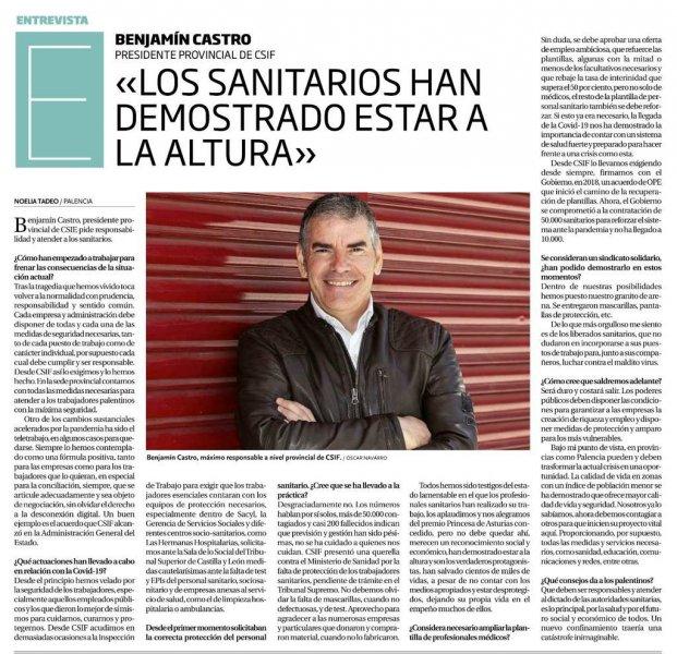 Entrevista al Presidente de CSIF Palencia