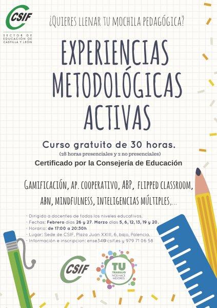 Experiencias metodológicas activas en Palencia Curso Certificado por la Consejería de Educación