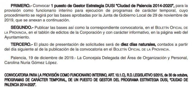 """Gestor Estrategia DUSI """"Ciudad de Palencia 2014-2020"""""""