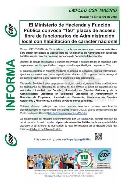 """El Ministerio de Hacienda y Función Pública convoca """"150"""" plazas de acceso libre"""
