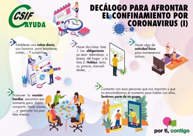 Decálogo para afrontar el confinamiento por coronavirus