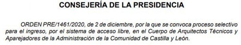 18 plazas de Aparejadores de la Administración de la Comunidad de Castilla y León