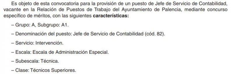 Jefe de servicio de contabilidad en el Ayuntamiento de Palencia
