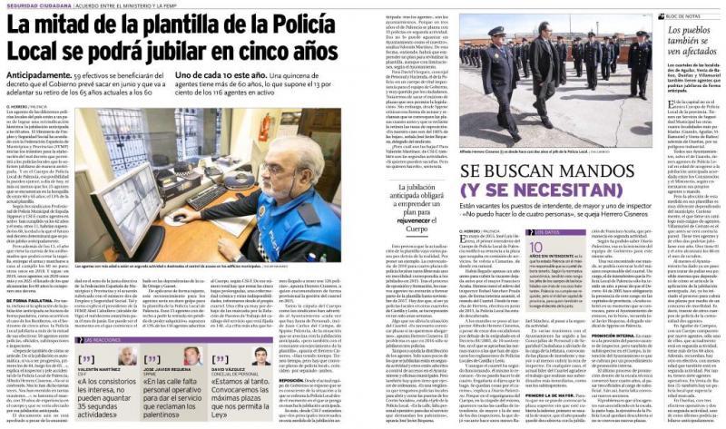La mitad de la plantilla de la Policía Local se podrá jubilar en cinco años