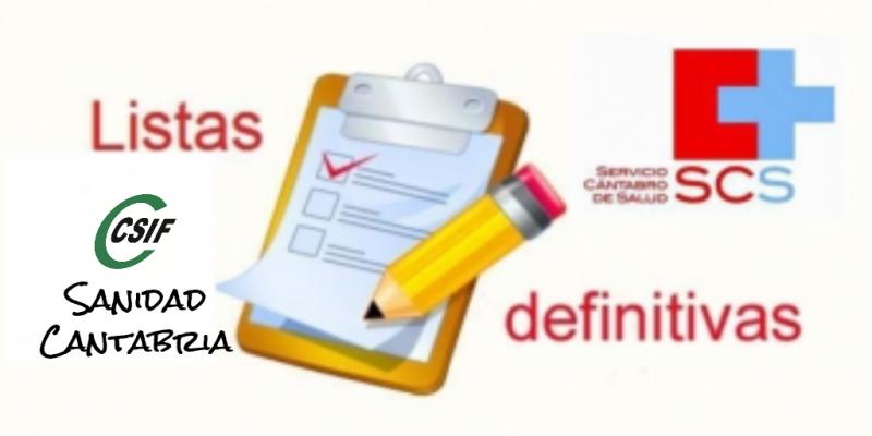 Listas Definitivas SCS CSIF Sanidad Cantabria