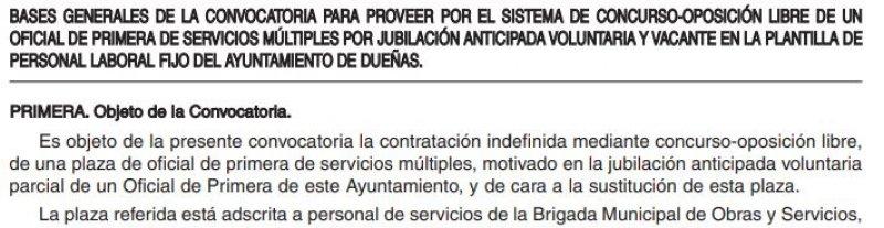 Oficial de primera de servicios múltiples en el Ayuntamiento de Dueñas